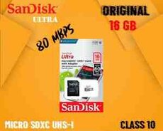 Sandisk Ultra 16GB Class 10 80Mbps Micro SD Kart və adapter